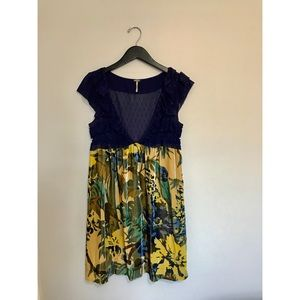 Free People Blue Lace & Yellow Velvet Floral Dress